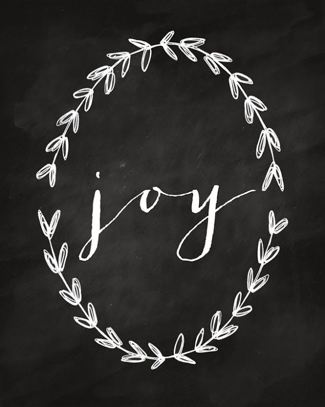 Free Printable for Christmas - Joy with wreath