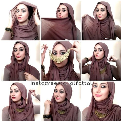 Another way of wearing hijab with necklaces, this style is loose for summer days or for special occasions. #hijabtutorial