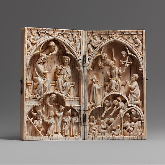 Diptych with the Coronation of the Virgin and the Last Judgment, ca. 1260-70. French. The Metropolitan Museum of Art, New York. The Cloisters Collection, 1970 (1970.324.7a, b) | Intended for the private contemplation and devotion of its owner, this palm-size ivory diptych illustrates both the reward of salvation and the consequence of damnation. #cloisters