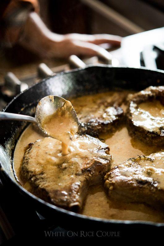 Juicy Tender Pork Chops in Milk and Dijon Mustard Sauce. Pork chops never tasted this good. | @whiteonrice