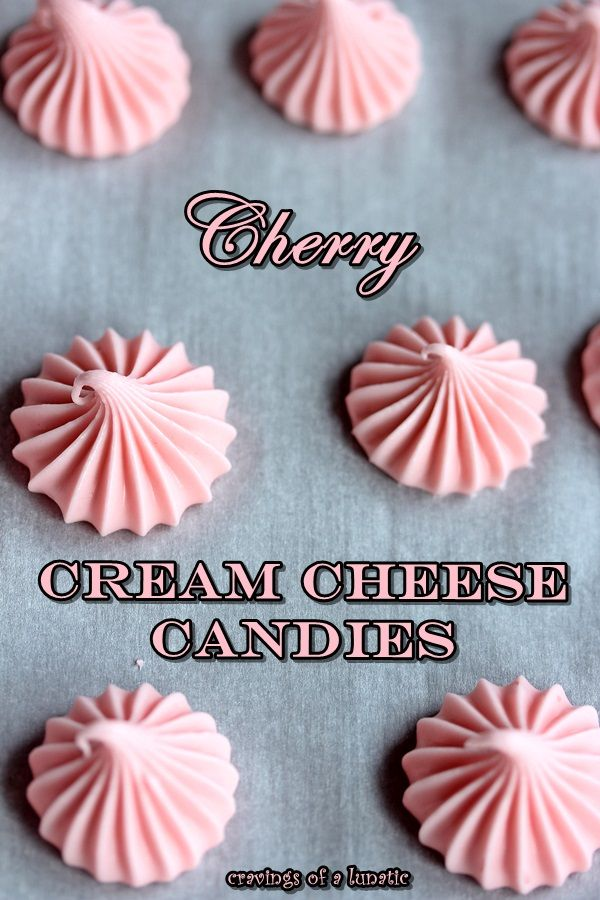 Cherry Cream Cheese Candies   Very easy to make. Our family loves these, we make them in various flavours. Cream cheese candies aka cream cheese mints.