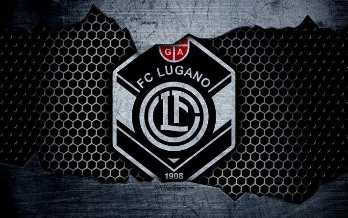 Download wallpapers Lugano, 4k, logo, Swiss Super League, soccer, football club, Switzerland, grunge, metal texture, Lugano FC