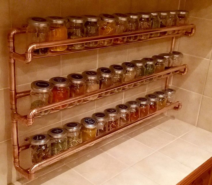 Copper Pipe Spice Rack   Wall Mounted   With Jars