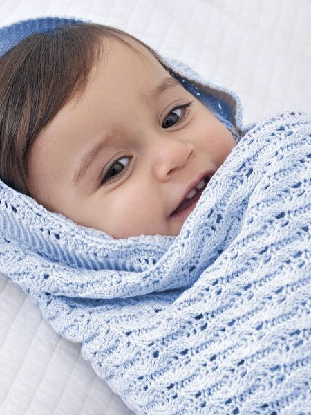 Designed in Australia, this gorgeous powder blue design baby shawl features a vintage-style lattice knit.  Measuring 100 x 80cm and made from super soft, easy-care cotton, it makes a gorgeous special occasion blanket or Christening shawl.  This Little Bonbon baby shawl is presented in a beautiful gift tube.