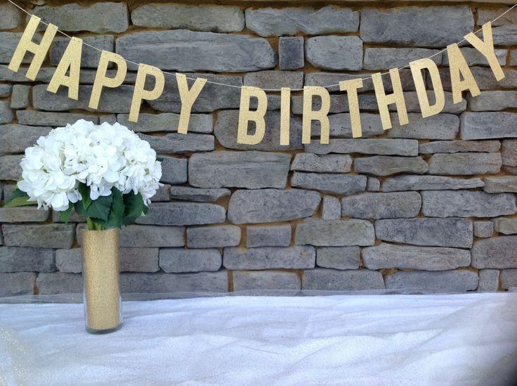 Gold Glitter HAPPY BIRTHDAY Banner, 6 INCH Letters, Happy Birthday Banner, Gold Glitter Happy Birthday Sign, Gold Happy Birthday Banner by APartyInABag on Etsy