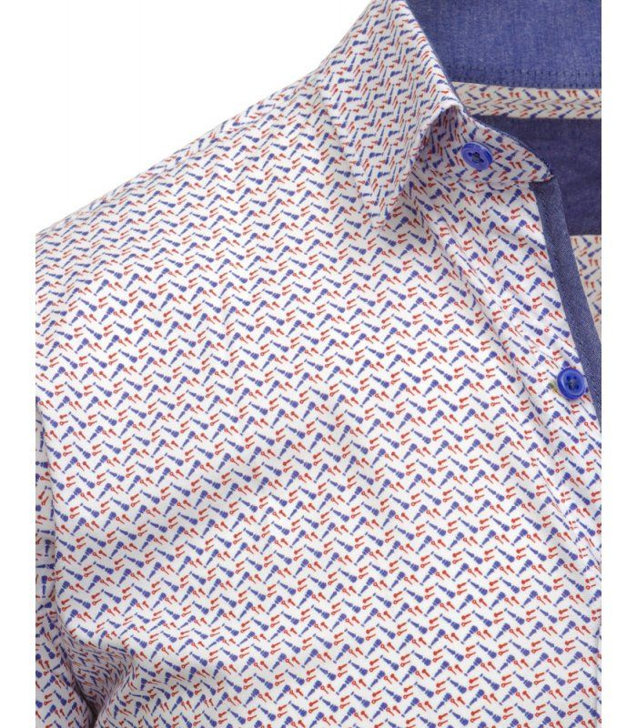 Biela pánska košela so vzormi a dlhými rukávmi