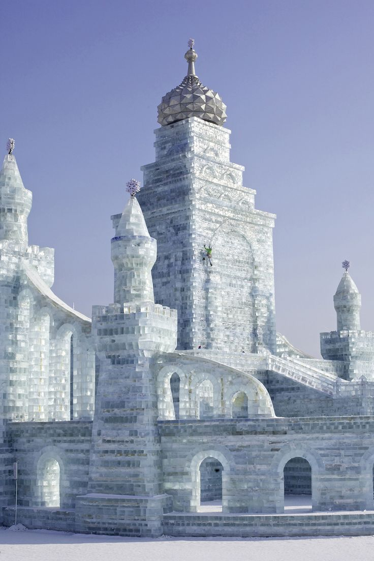 Arc'athlete Ines Papert decided to climb the ice castles of Harbin Ice and Snow Festival.