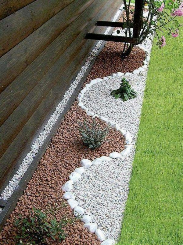 Garden decoration with stones for natural look of the garden
