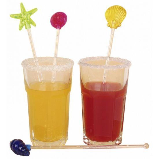 Cocktail roerstaafjes 4 stuks. Vrolijke roerstaafjes voor in een cocktail of ander drankje in de vorm van strand schelpen en een zeester.