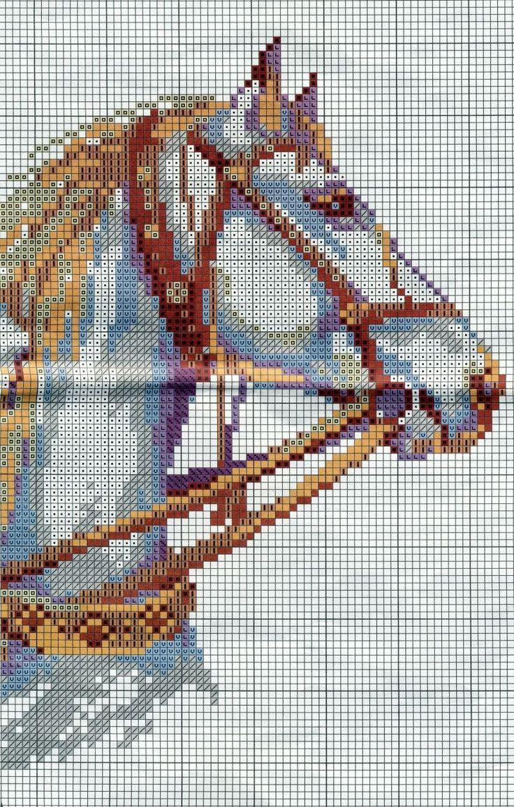 GRAFICOS PUNTO DE CRUZ GRATIS : CABALLOS(36)two white horses