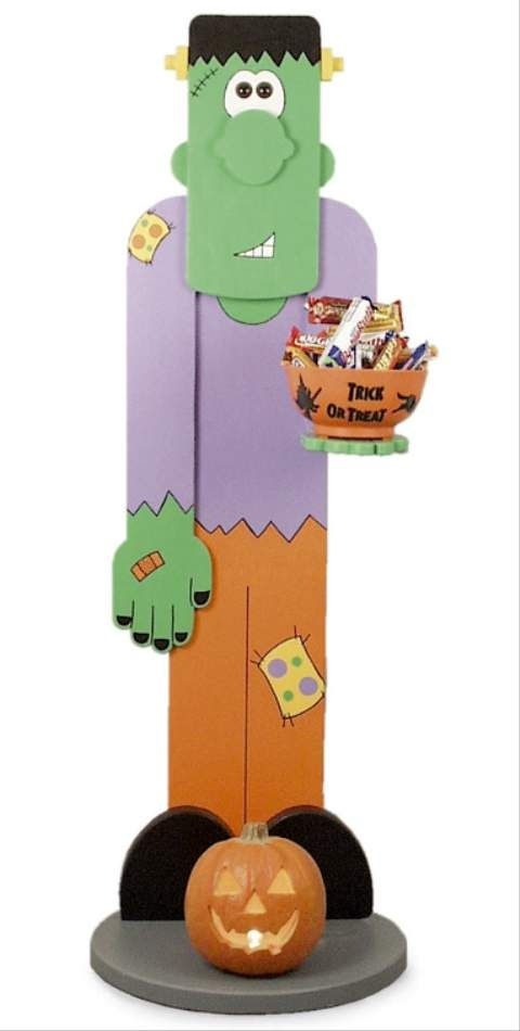 """Halloween is almost here! Make this adorable 6+ foot tall """"Plank Frank"""" to have by your door as you greet the trick-or-treaters. He holds a candy bowl and will make Halloween that much more fun. With Gizmoplans full-sized trace and cut woodcraft patterns, you can DIY!"""