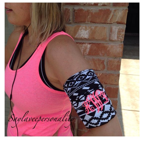Monogrammed jogging stretch fabric armband by SayLaVeePersonality, $19.99