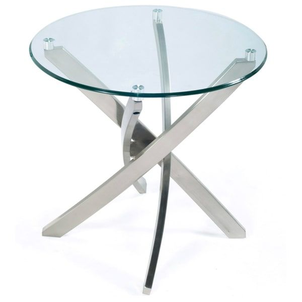 Zila Contemporary Brushed Nickel Round End Table with Glass Top | Overstock.com Shopping - The Best Deals on Coffee, Sofa & End Tables
