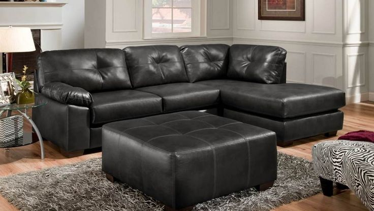 The Madrid Ebony Sectional is this week's Featured Friday item - you'll love the black leather-like material that is easy to clean, as well as the tufted back cushions. #furniture #homedecor #americanfreight