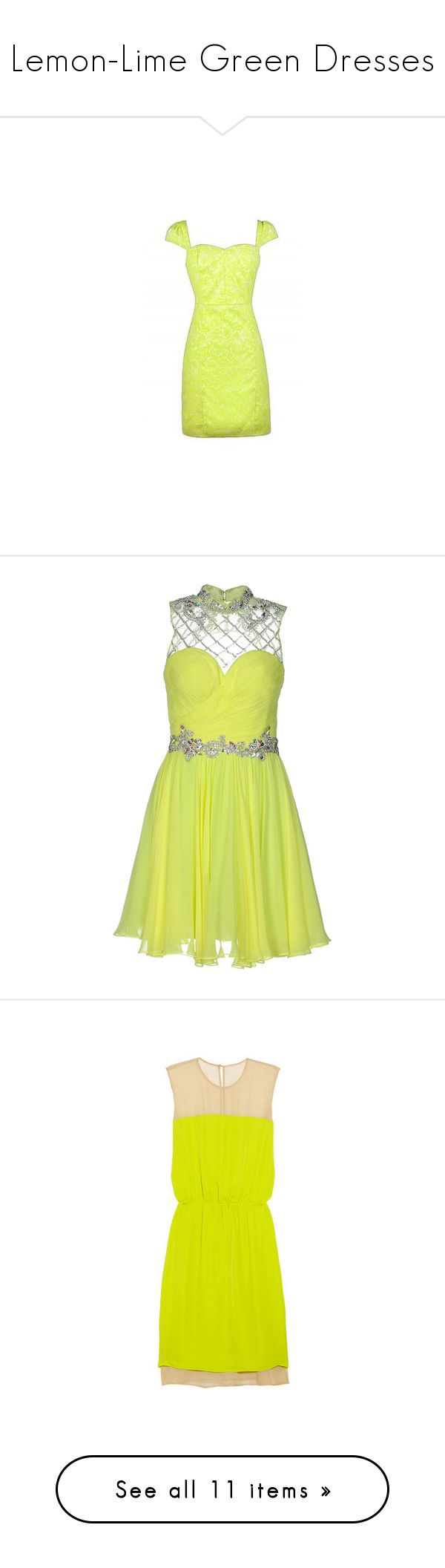 """""""Lemon-Lime Green Dresses"""" by tegan-b-riley on Polyvore featuring dresses, yellow, yellow sequin dress, short sequin dress, short sequin cocktail dresses, yellow sleeveless dress, short flare dress, yellow dress, boulee dress and nylon dress"""