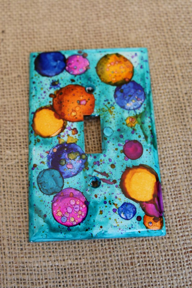Arts and crafts switch plate covers - Hand Painted Alcohol Ink Switch Plate Cover By Mymothersdaughters On Etsy