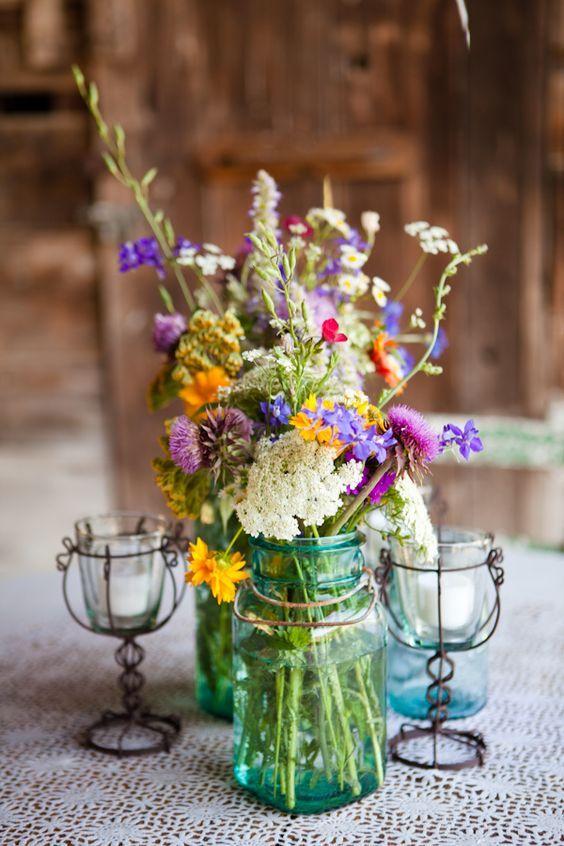 wildflowers in blue mason jar wedding centerpiece/ http://www.deerpearlflowers.com/ideas-for-rustic-outdoor-wedding/2/