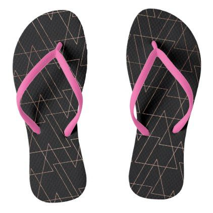 Modern rose gold geometric thin triangles black flip flops - girly gift gifts ideas cyo diy special unique