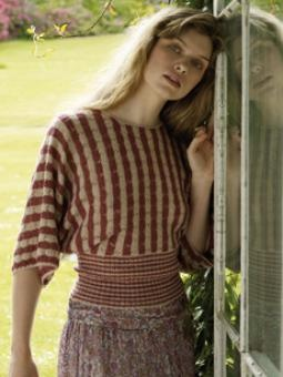This graceful sweater is worked sideways and has been designed by Marie Wallin using Fine Lace.