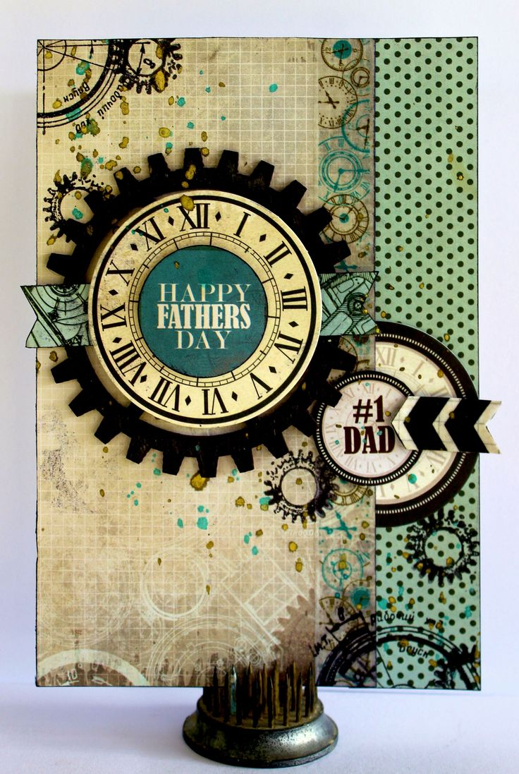 "Happy Father's Day - Kaisercraft ""Time Machine"" - Scrapbook.com - Masculine card made with Kaisercraft."
