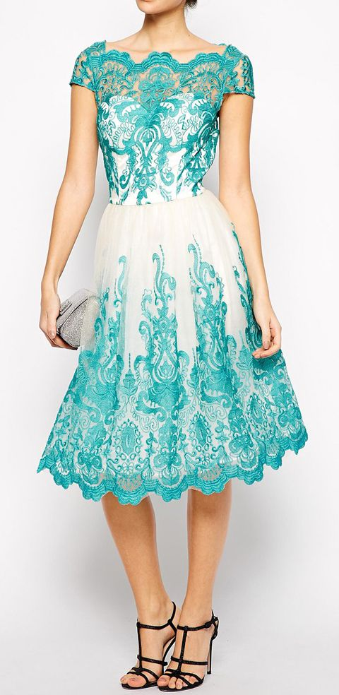Chi Chi London Premium Embroidered Lace Prom Dress with Bardot Neck - Green