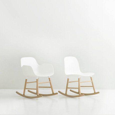 Normann Copenhagen Schommelstoel met armleuning Form wit kunststof eiken hout 73x48x65cm