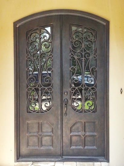 beautiful eyebrow arch top double wrought iron door with custom ornate scroll work dream home - Doors Design For Home