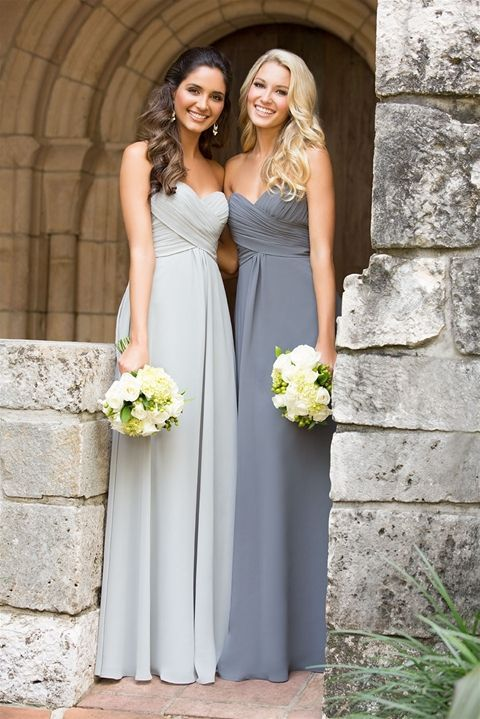 Co-ordinating mismatched grey long bridesmaid dresses