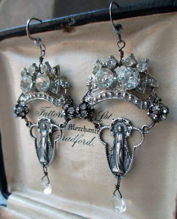 SOLD to Carol  vintage assemblage earrings  by TheFrenchCircus, $69.00