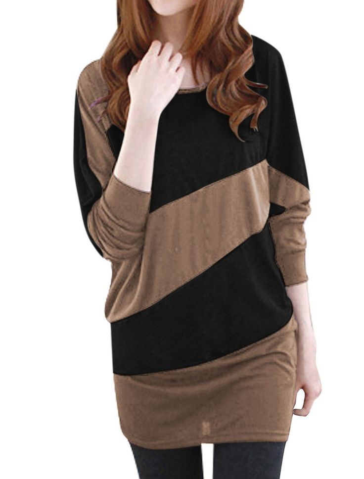 Allegra K Women Color Block Panel Batwing T Shirt Loose Tunic Tops (Light Coffee and Black, Large/US 14)