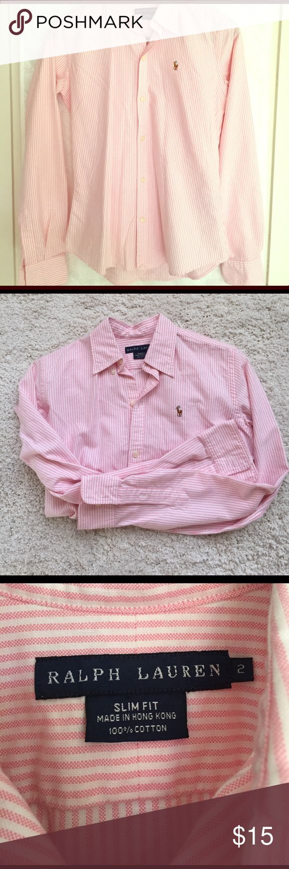 💵 SALE 💵 POLO Ralph Lauren Long Sleeve Button Up Pretty pink and white striped button up shirt perfect for the working woman 👚 Like new condition. Slim fit, size 2. Buttons on the sleeves allows you to roll them up and show off your bracelets! Polo by Ralph Lauren Tops Button Down Shirts