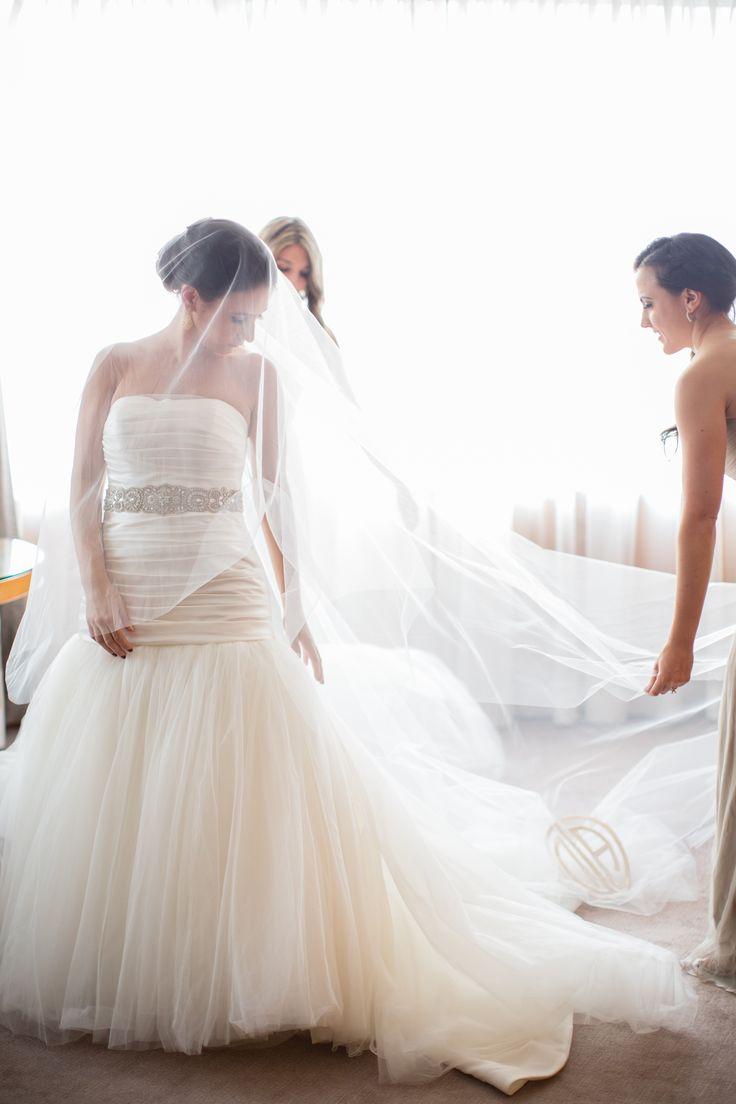 Wedding Gown by Isaac Mizrahi  -- real Wedding on http://www.StyleMePretty.com/new-york-weddings/2014/04/03/romantic-wedding-at-the-ritz-carlton-battery-park/ Lilian Haidar Photography - lilianhaidar.com