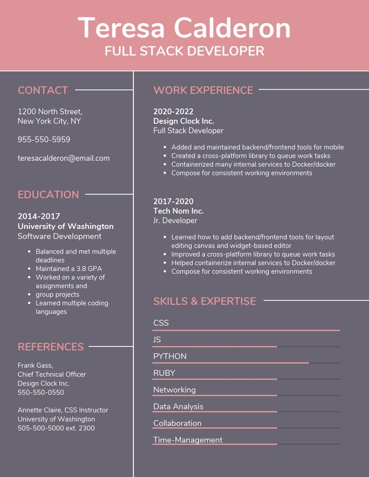 Pink Developer Simple Resume Template Put together a
