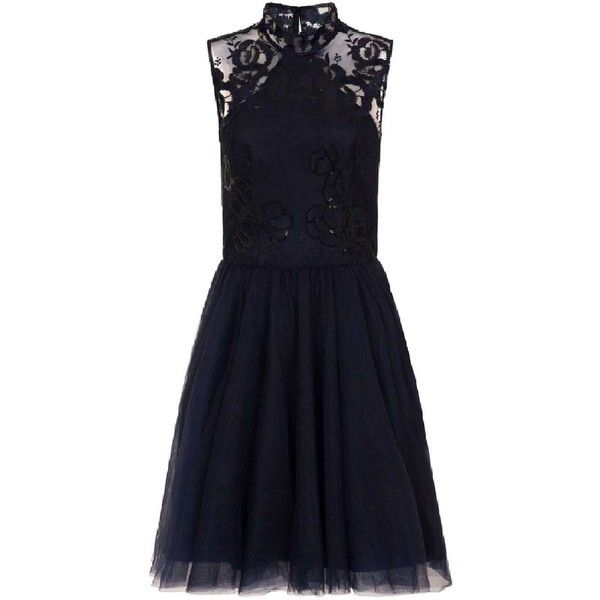 *Chi Chi London Navy Embroidered Midi Skater Dress (1,780 MXN) ❤ liked on Polyvore featuring dresses, navy blue skater dress, blue skater dresses, embroidery dress, navy blue midi dress and mid calf dresses