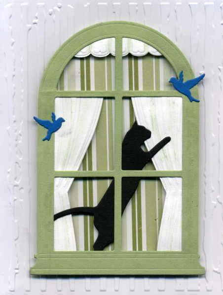 I love these cats from Memory Box, as you can see in my Gallery. Reminds me of my daughters black cat. Used MB Grand Madison Arched Window and their Plush Curtains to make this scene.  Birds are from a IO die. I framed this and sent it to my daughter now in Texas.