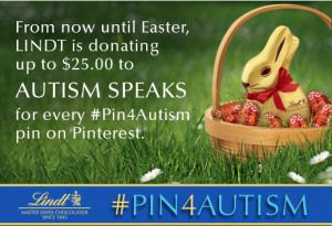 I LOVE that this most delicious and emminently edible chocolate is donating up to $25.00 per pin to Autism Speaks!
