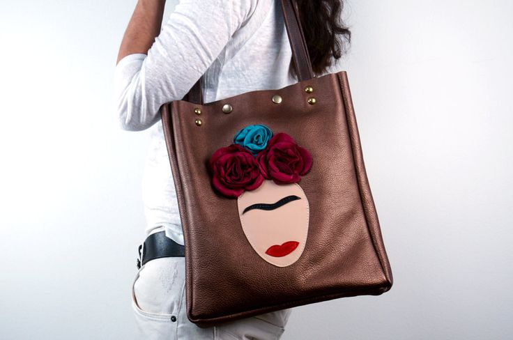 Frida Leather Tote Bag, Metallic Brown Leather/metallic Leather Shoulder Bag With Frida Appliqué/unique Design Leather Bag – Nfridabrownel5 by NeroliHandbags - Found on HeartThis.com @HeartThis | See item http://www.heartthis.com/product/488857467865646202?cid=pinterest