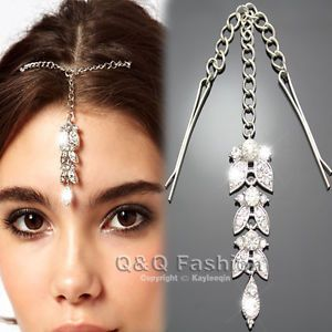 Chic Silver Flower Crystal Bindi Hair Clip Tikka Indian Head Jewelry Party Prom