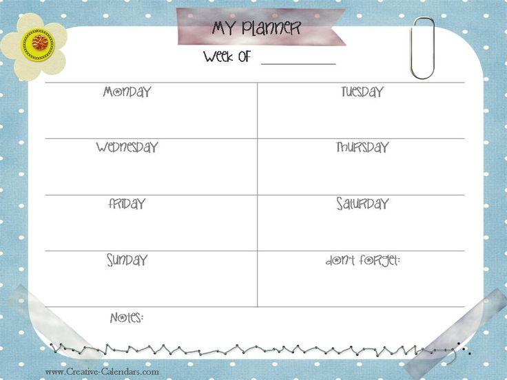 25 best Weekly planner - uge-skemaer images on Pinterest - free weekly calendar