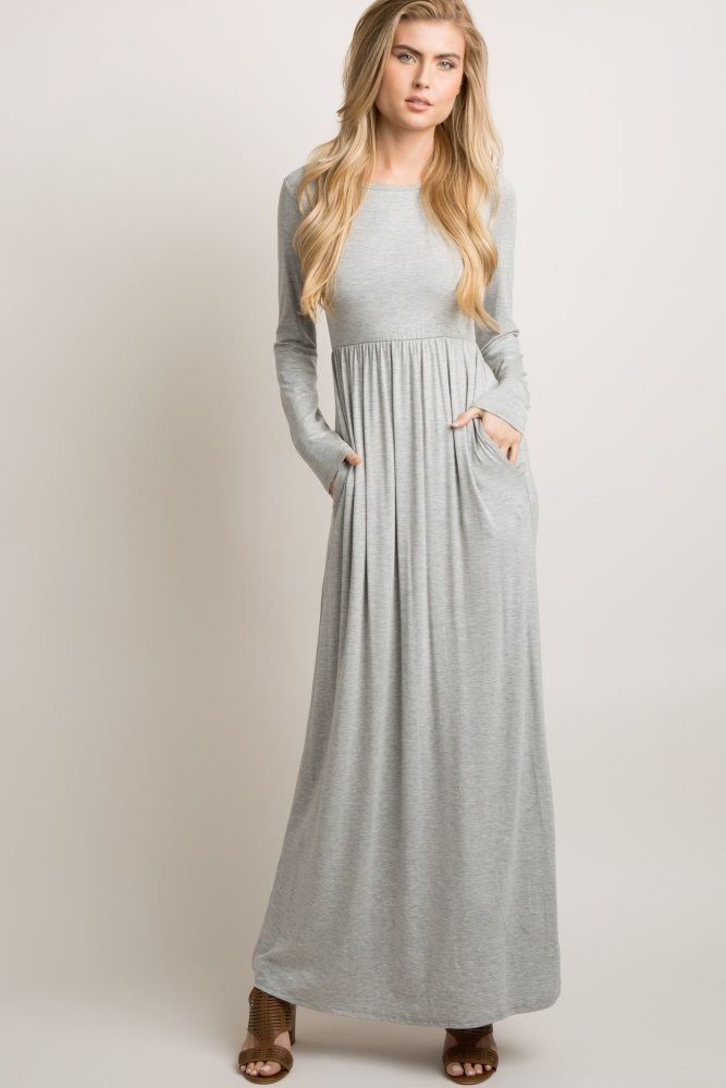b45ac5f0326d Heather Grey Solid Crisscross Back Maxi Dress in 2019 | Vintage ...