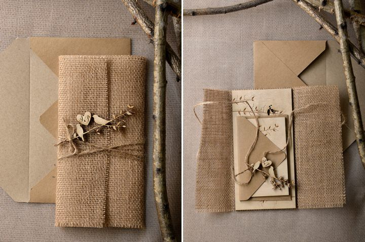 Brown paper and burlap wedding invitations with wooden accents | Hand Made Rustic Wedding Stationery by 4 LOVE Polka Dots via @bohowedandlife
