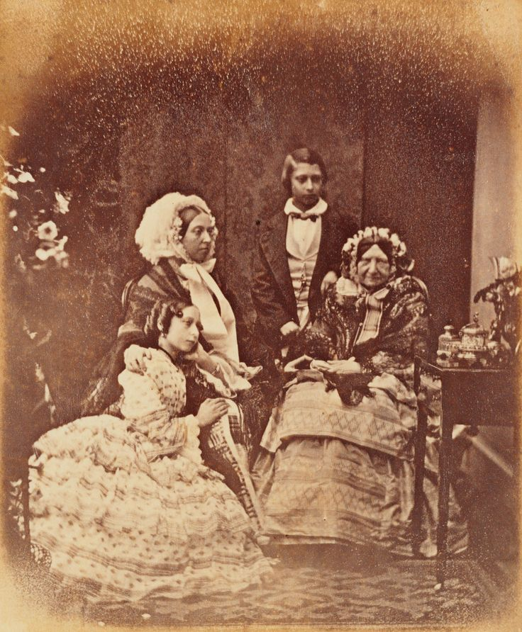 Queen Victoria (1819-1901); Princess Mary, Duchess of Gloucester (1776-1857); Albert Edward (1841-1910), later King Edward VII; and Princess Alice (1846-1878. The Queen and Princess Mary are seated with Albert Edward standing behind and Princess Alice is knelt and resting onto the Queen.