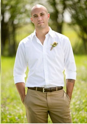 white shirt khaki pants