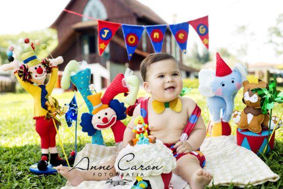 ensaio fotográfico bebê 1 ano smash the cake; bolo tema circo palhaço; Bosque do Alemão Curitiba por Anne Caron (2)