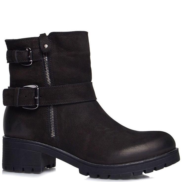 Купить Высокие женские ботинки Prego из натуральной замши черного с ремешками