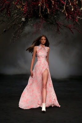 Pink and white dress on scary/romantic runway http://www.luvtolook.net/2013/05/pink-and-white-dress-on-scaryromantic.html