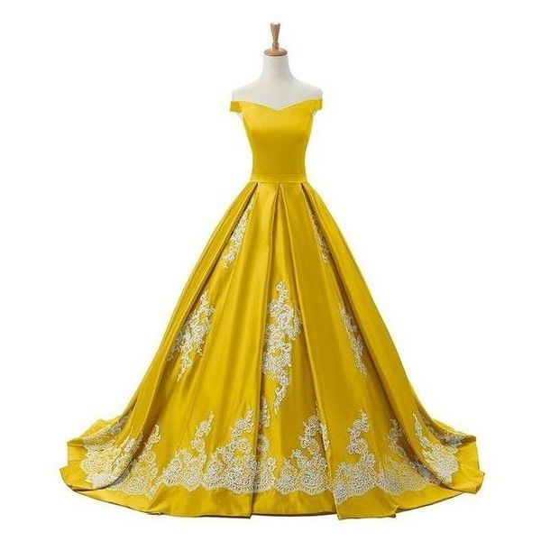 Sunvary 2016 Cap Sleeves Ball Gown Appliques Quinceanera Prom Dresses ❤ liked on Polyvore featuring dresses, gowns, cap sleeve evening gown, yellow gown, bridesmaid gown, yellow bridesmaid dresses and quinceanera gowns