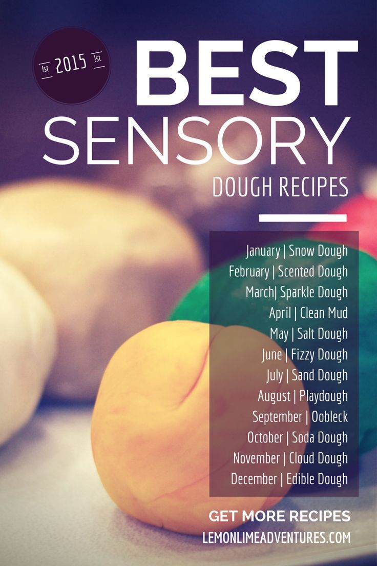 BEST Sensory Dough Recipes   An entire year of recipes! Definitely pinning this to come back to and use each month for sensory play in my class.