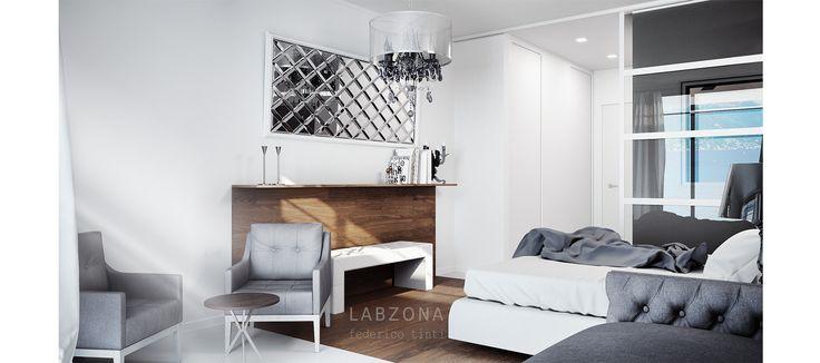 hotel albergo camera letto bedroom architetto specchio bisellato rombi legno poltrona panca lampadario bianco