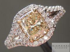 1.00ct U-V VS1 Cushion Cut Split Shank Diamond Halo Ring $3,995 #yellowdiamond #cushion #engagementring #weddingring #diamondjewelry #luxuryjewelry #bridalring #luxury #engagement #gift #love #propose #diamondengagementring #coloreddiamond #diamondring